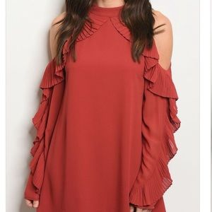 Dresses & Skirts - Solid Pleat Ruffle Trim Cold Shoulder Dress
